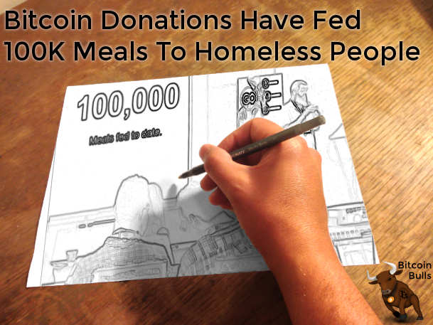 Bitcoin donations have fed 100k meals to homelss people
