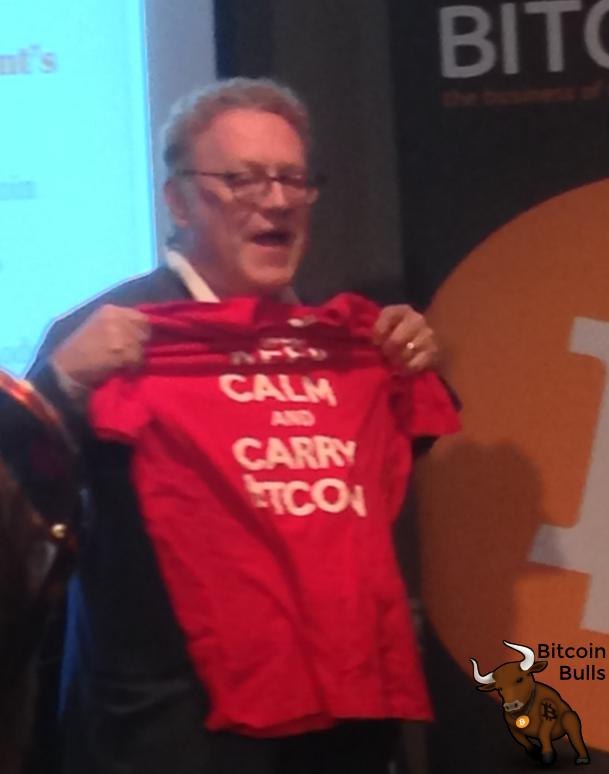 Michael Terpin has the best shirt: Keep calm and carry bitocin.